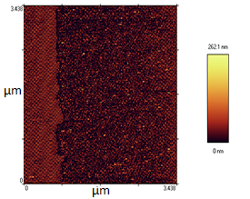 Material change on coated-linen Atomic Force Microscopy gallery